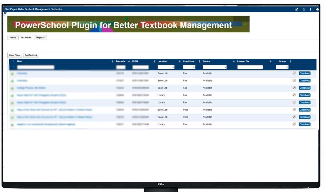 Sample screen shot from Powerschool
