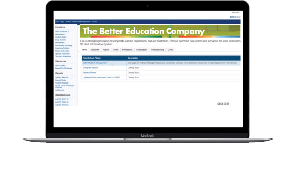 Powerschool Textbook plugin screen